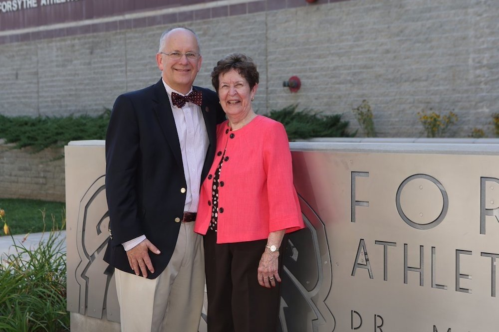 The late Mary Jo Wynn, right, led Missouri State University's Fast Break Club, a Sports Hall of Fame inductee. She's pictured five years ago with MSU President Clif Smart.