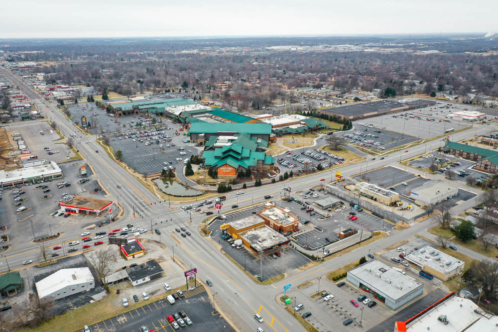 BIRD'S EYE VIEW: The Bass Pro campus at Campbell Avenue and Sunshine Street is the focus of a feasibility study, which recommends a 100,000-square-foot convention center and three hotels in the vicinity.