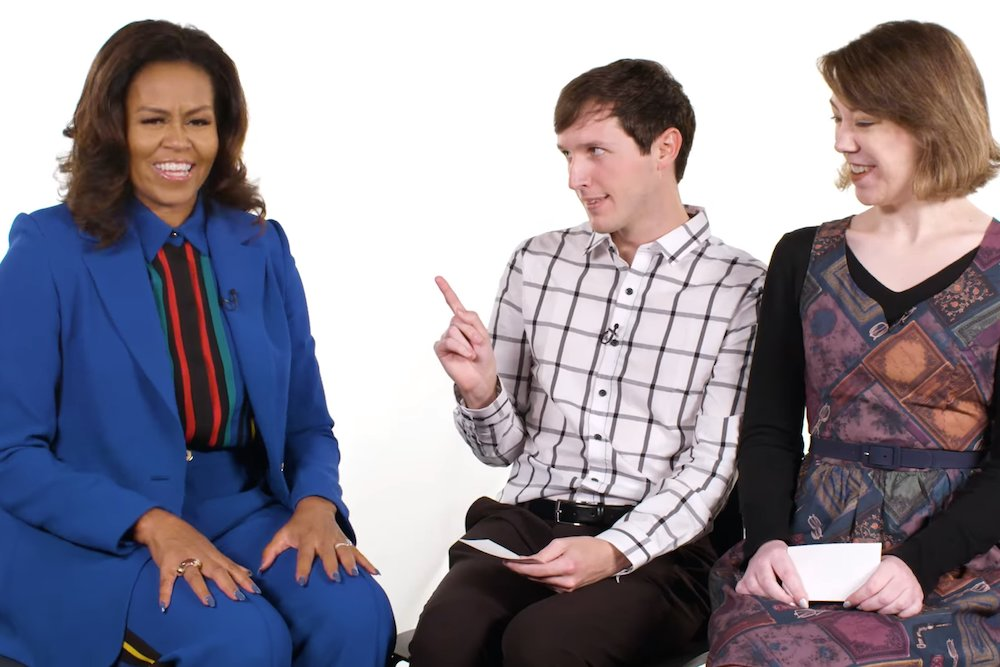 Springfieldian Jesse George, center, interviews Michelle Obama with fellow YouTuber Kat O'Keeffe.