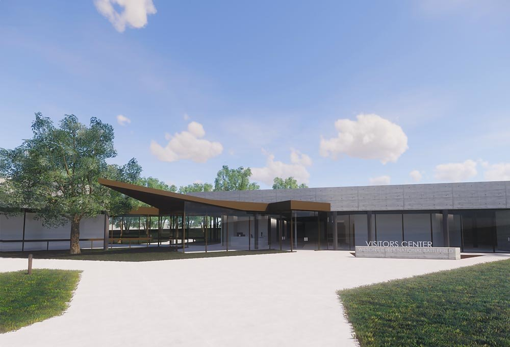 FUNDRAISING UNDERWAY: A $4.5 million renovation of the Wilson's Creek National Battlefield Visitors Center, shown in this rendering, is in the works for later this year.