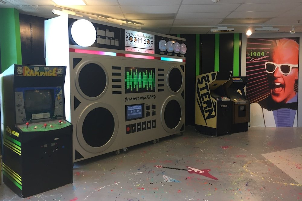 A 9-foot tall boom box plays '80s tunes for visitors at the soon-to-open 1984 Branson, located in the Shoppes at Branson Meadows.