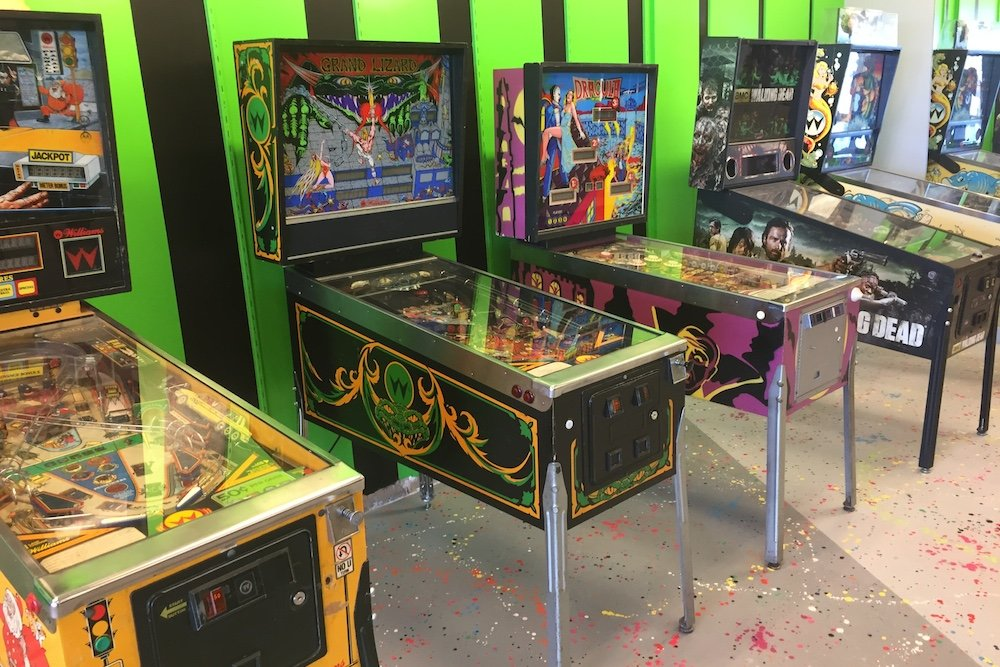 Along with dozens of arcade machine cabinets, some 15 pinball machines are part of the new venture's offerings.