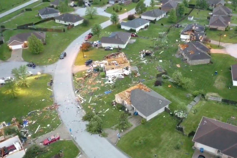 Drone footage shows damages sustained at the Waterford subdivision in Ozark.