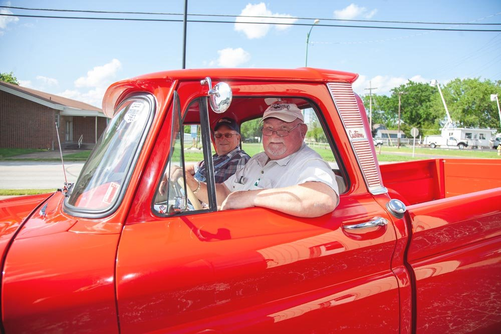 OL' RED: Terry Bradley, left, and Kirk Wheeler have completed the first part of their journey along Route 66, with plans to head west in June to get inspiration for Wheeler's planned Route 66 food truck park.