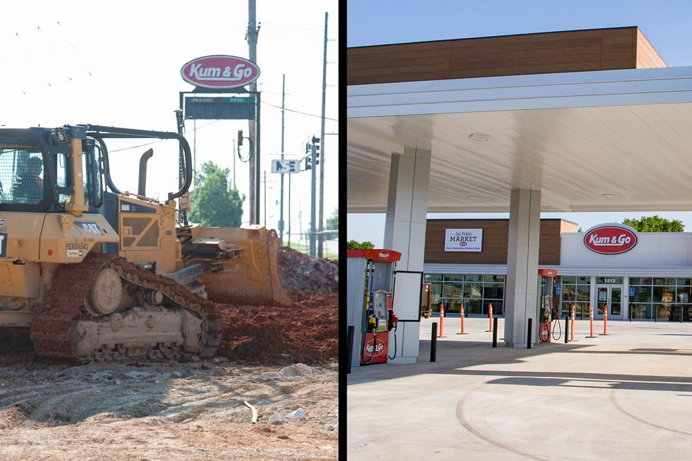 Kum & Go has demolished an old store on Division Street, left, and it's opening a new location on Battlefield Road.