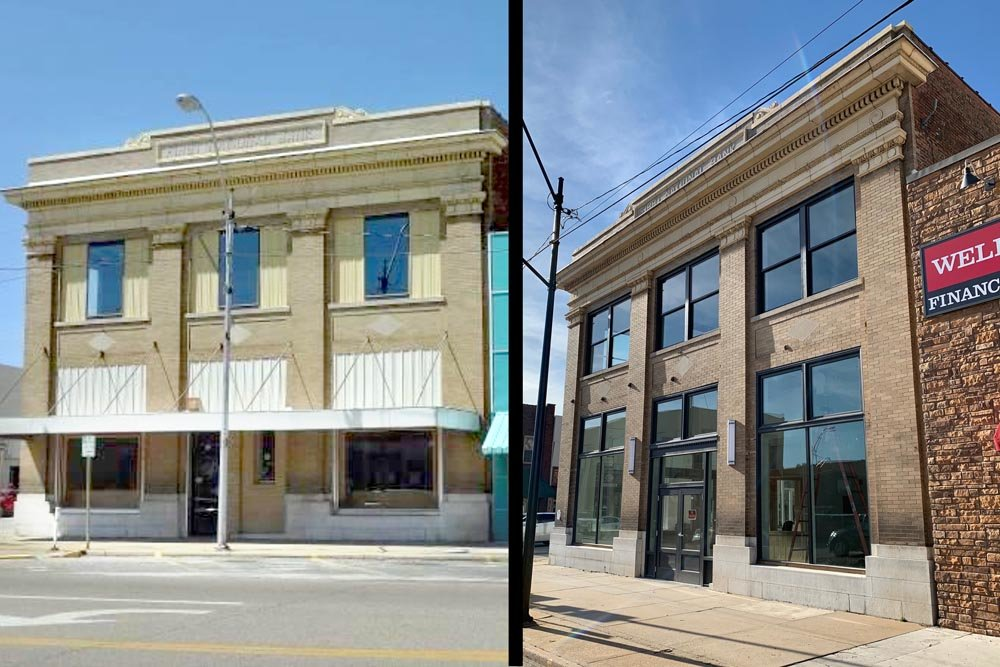 BEFORE AND AFTER: The First National Bank building circa 2013, left, is ready for office tenants today.