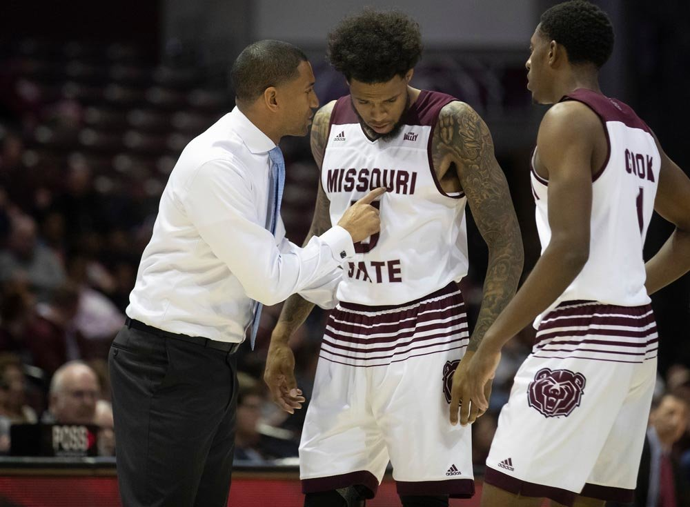FIRST SEASON: Missouri State University head men's basketball coach Dana Ford talks to his players during a game.