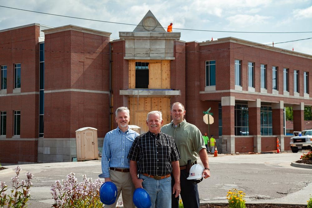 LONG OVERDUE: From left, Webster County Clerk Stan Whitehurst, Presiding Commissioner Paul Ipock and Sheriff Roye Cole anticipate the $18.6 million justice center project to wrap up in August.