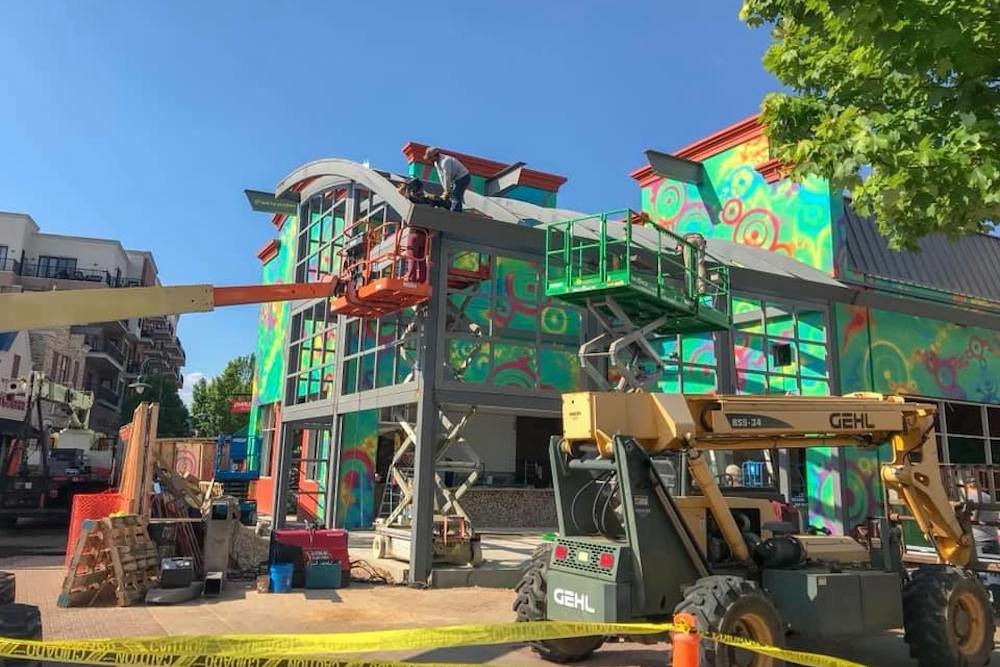 Shown here under construction in May, Mellow Mushroom Pizza Bakers is scheduled to open this month at Branson Landing.
