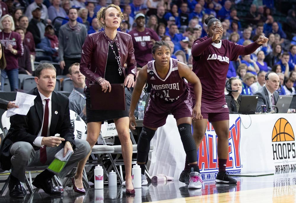 Former assistant coach Jackie Stiles works the sideline at a Missouri State University Lady Bears basketball game.