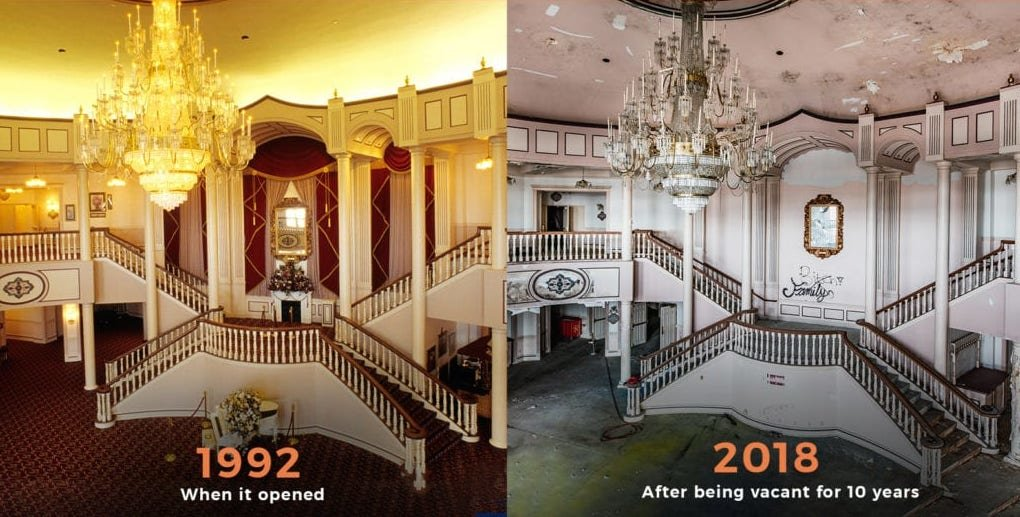 Photos show the condition of the front-facing portion of the building upon its opening in 1992 and in 2018.