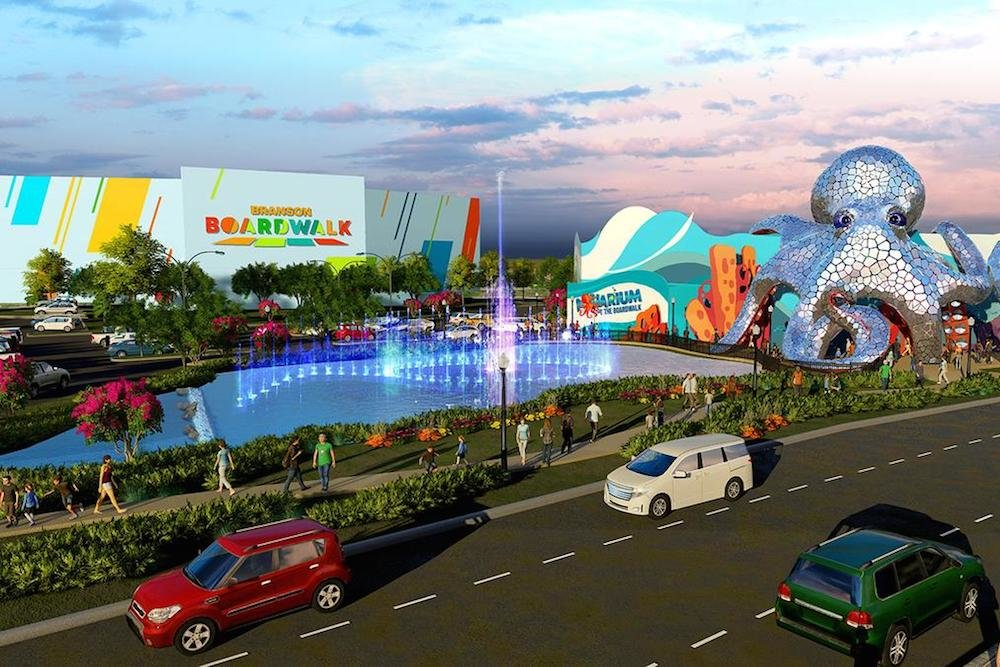 The Branson Boardwalk development includes an aquarium and a man-made lake.