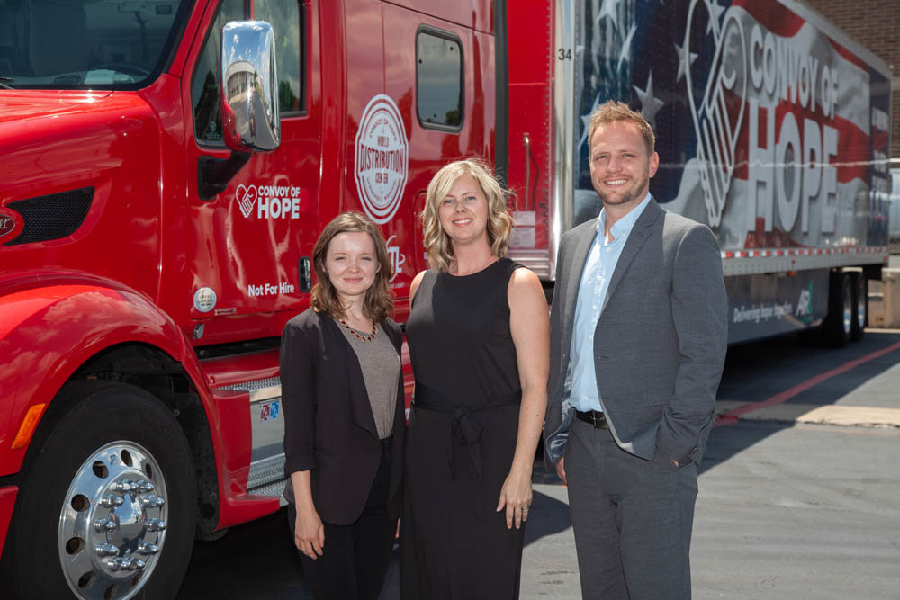 Aria Spears, from left, Jessica Blake and Jeremy Williamson are part of the Convoy of Hope team that provides aid to 14.6 million people worldwide.