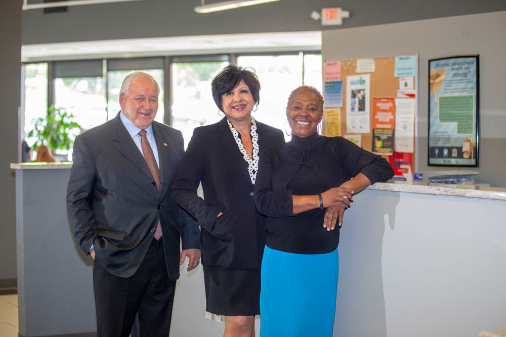 Bill Smillie, from left, Mary Ann Rojas and Cynthia Collins help connect businesses with employees.