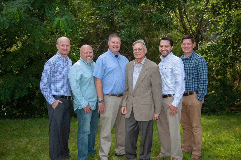 Joe Tierney, from left, Brian Orr, Lewis Wiles, Lou Toth, Adam Toth and Jeff Mueller comprise Toth's leadership team.