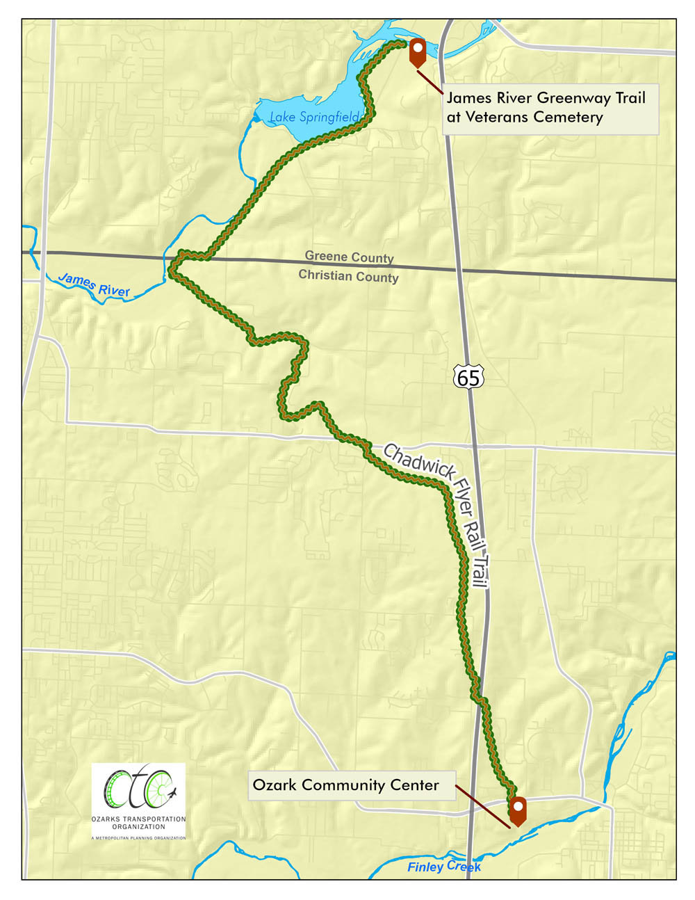 MAPPING THE COURSE: A steering committee is focused on the main spine of the Chadwick Flyer Rail Trail, where it would connect with the James River Greenway to the Ozark Community Center.