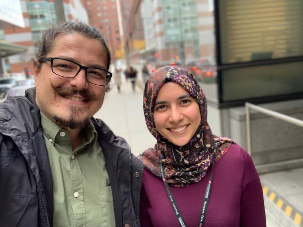 Omer Onder and Goknur Akarca meet for the first time Nov. 5, 2018, in front of Dana-Farber Cancer Institute in Boston.