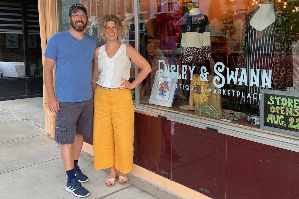Husband-and-wife Matt and Andrea Battaglia own new Commercial Street business Ensley & Swann Boutique & Marketplace.