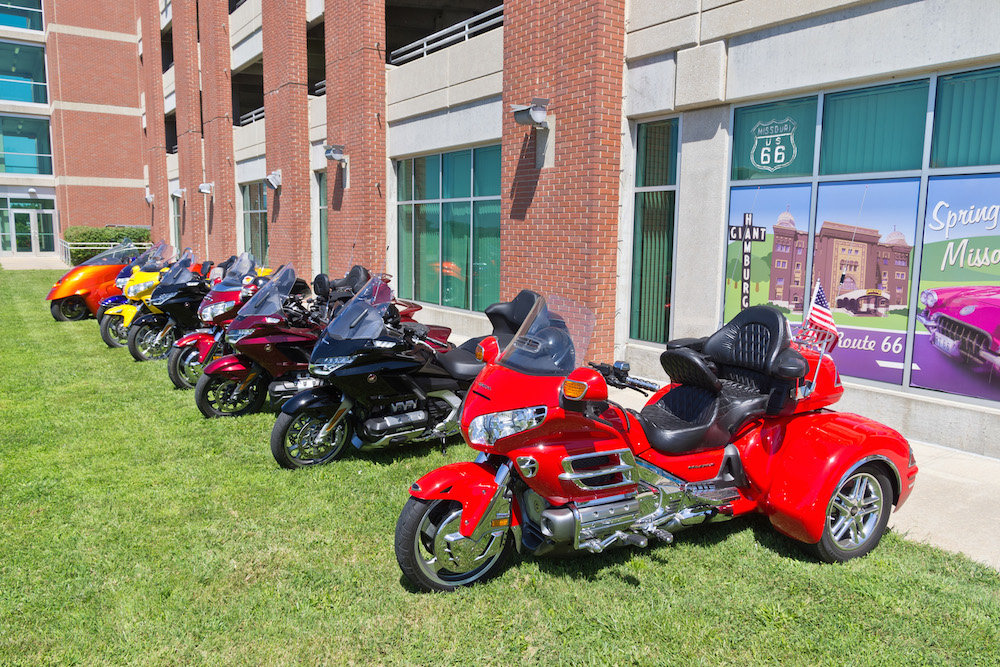 Honda Gold Wing motorcycles are parked outside CVB's Route 66 office on Wednesday.
