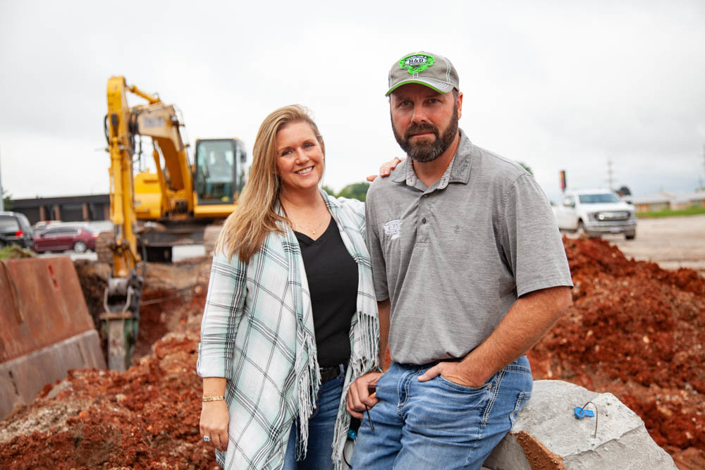 LAYING THE GROUNDWORK: Jerry and Carolyn Hamilton's company, Hamilton and Dad, is handling sewer work for the BigShots development at the intersection of Glenstone Avenue and Kearney Street.