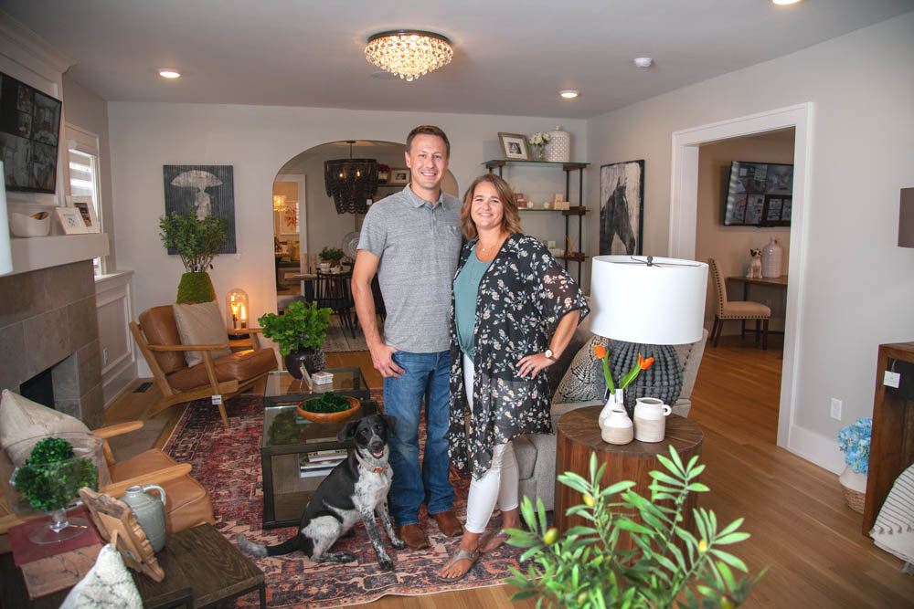 IN THE HOOD: Ellecor Design and Gifts, co-owner by husband and wife Brady and Haden Long, is settled into the Rountree neighborhood with their dog, Reign.
