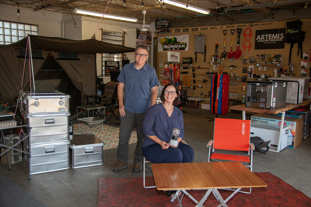 READY FOR ANYTHING: Artemis Overland Hardware, co-owned by husband and wife Aaron Matkowski and Keri Franklin, is in new digs on Tampa Street.