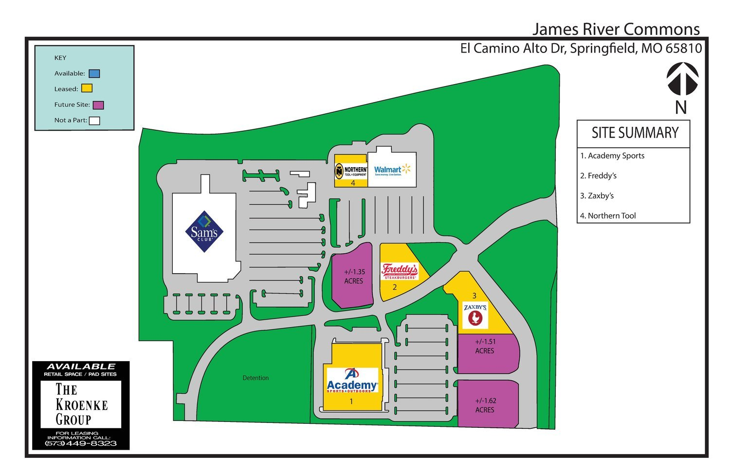 James River Commons has three spaces that haven't been claimed.