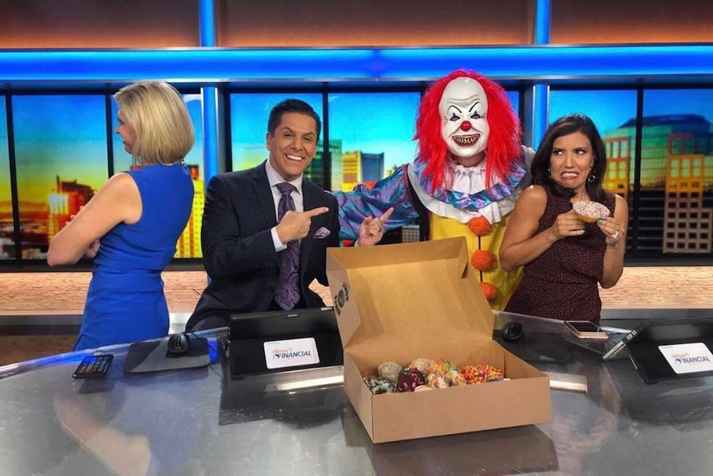 "Hurts Donut's scary clown campaign shows up on the set of ""Good Morning Arizona"" this week."