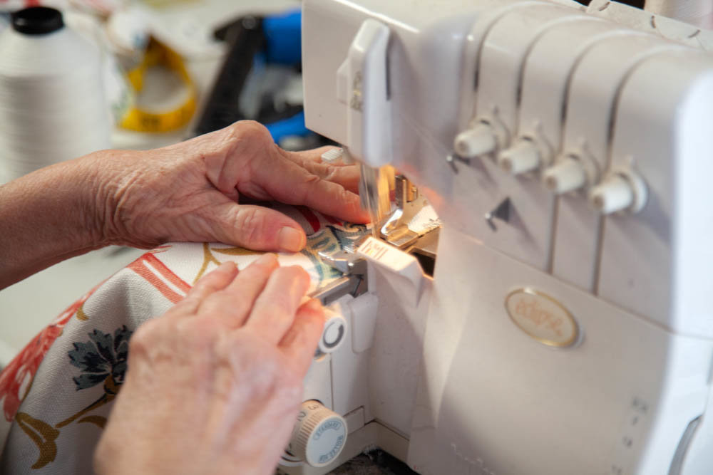 The company's bread and butter is sewing custom drapery and upholstery.