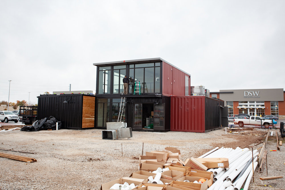 At Glenstone Marketplace, Taco Habitat is being assembled with recycled shipping containers from North Carolina-based Boxman Studios.
