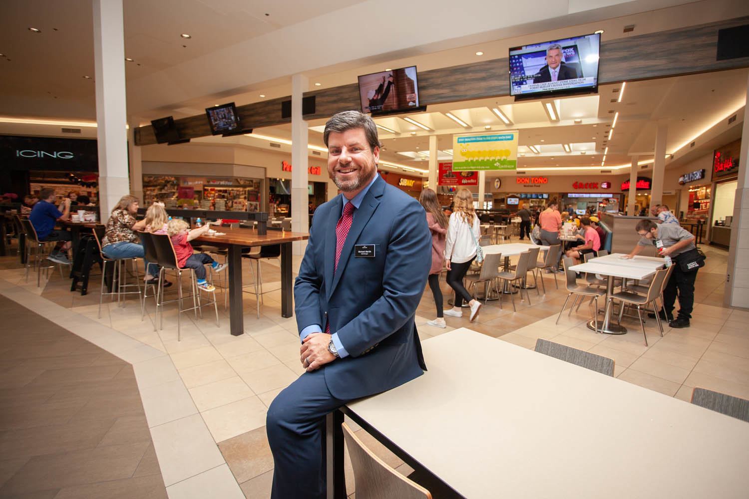 RETAIL RENOVATION: The Battlefield Mall made improvements to its dining pavilion this year, which included the addition of TVs, charging stations and modern furniture, says General Manager Michael Martin.