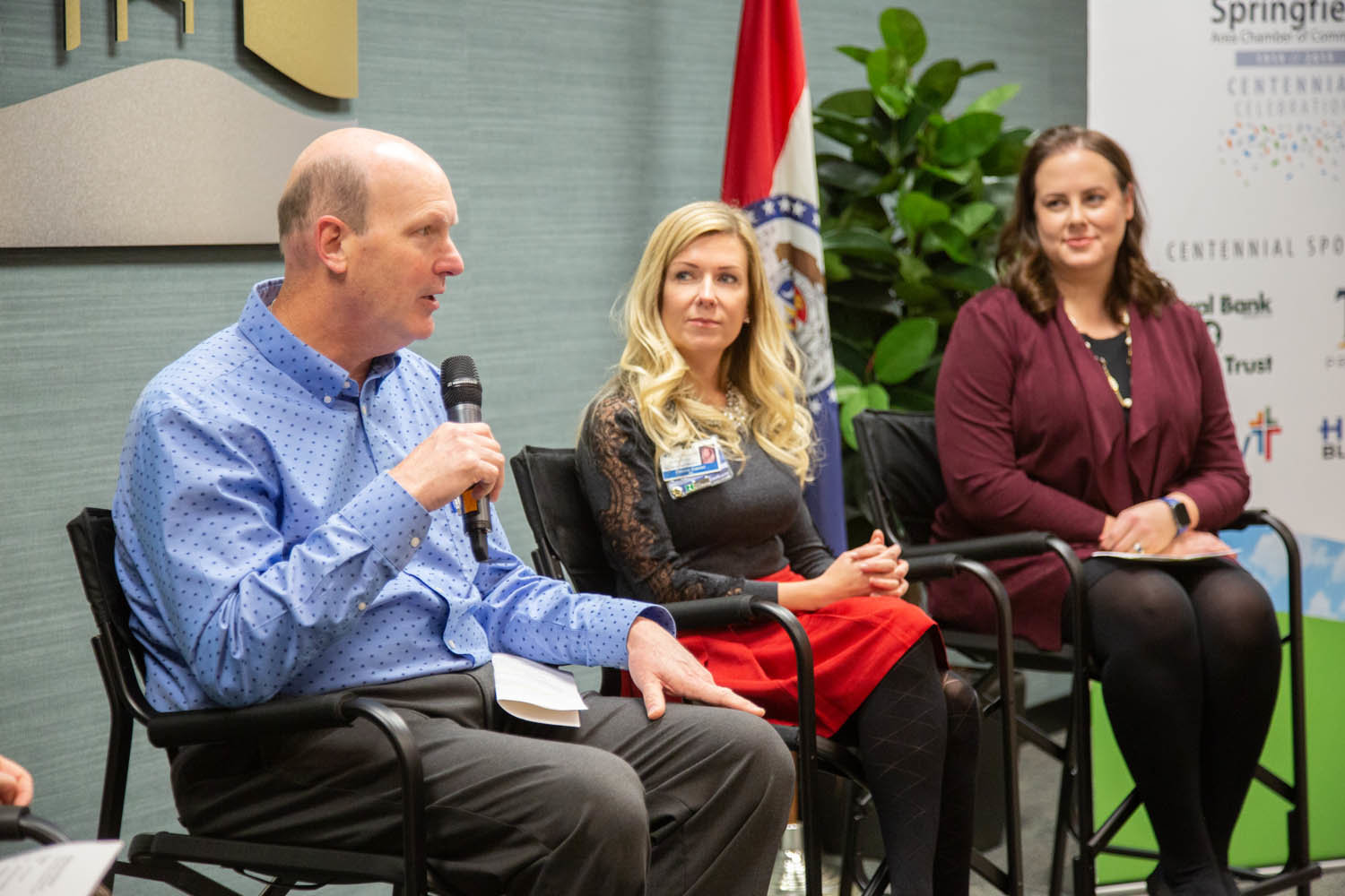 During a Springfield Area Chamber of Commerce discussion, Stephen Telscher, left, of Sapp Design Associates Architects, describes the firm's talent attraction practices. Other panelists are CoxHealth's Celeste Cramer and Kutak Rock's Ashley Norgard.