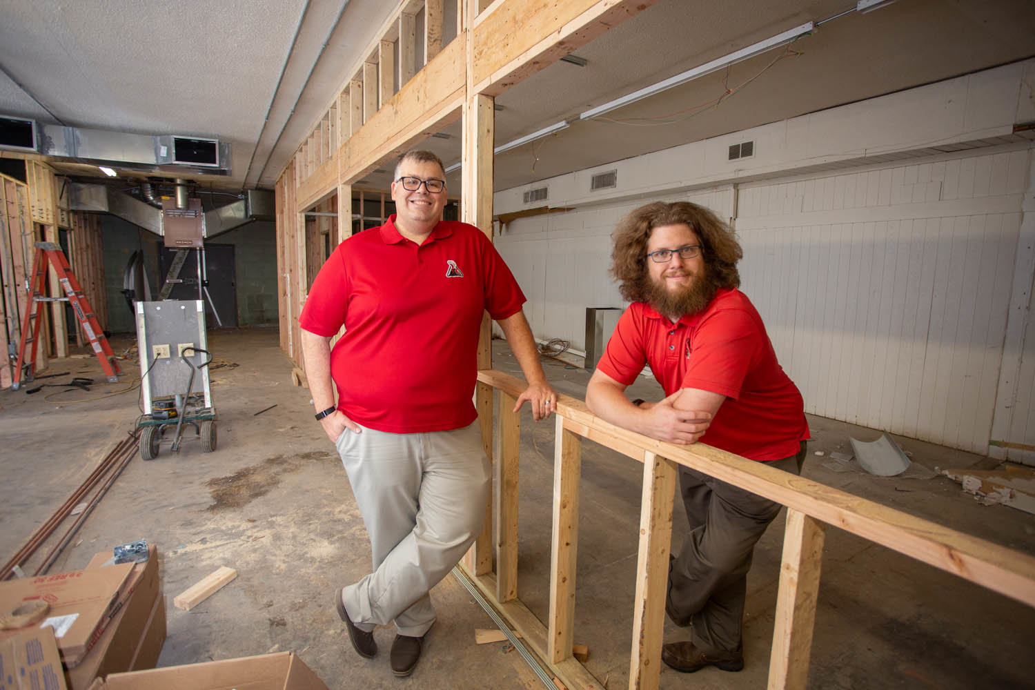 PREPARATIONS: Prehistoric Brewing Co. co-owners Keith Davis, left, and Charley Norton anticipate a January opening for their brewery in the Plaza Shopping Center.