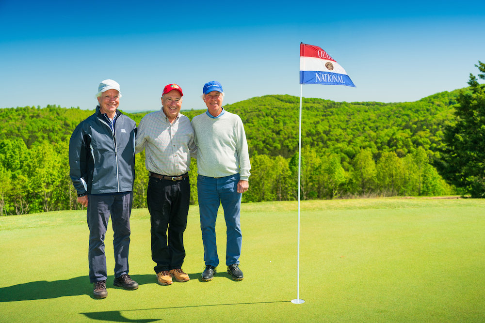 From left, Bill Coore, Johnny Morris and Ben Crenshaw pose at Ozarks National.