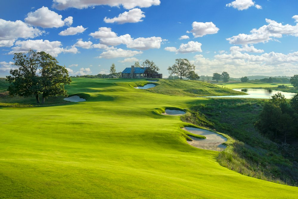 The Big Cedar Lodge golf course spans over 7,000 yards with 18 holes.