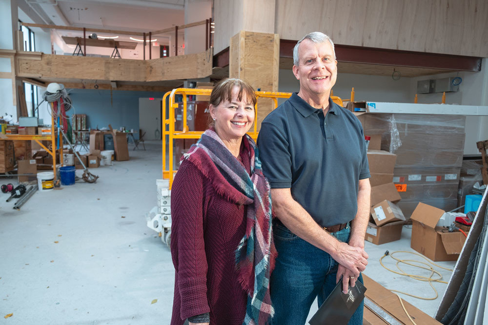 Shown in 2018 inside the unfinished History Museum on the Square, Mary and Rick McQueary are the Convention & Visitors Bureau's pick for the annual Pinnacle Award.