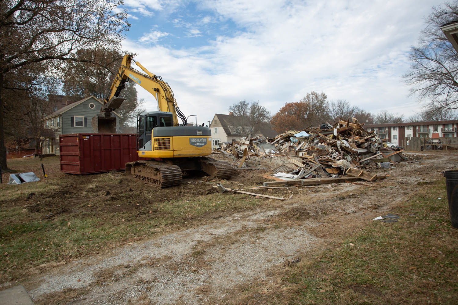 Several houses on East Cherry Street have been demolished to accommodate a residential development.