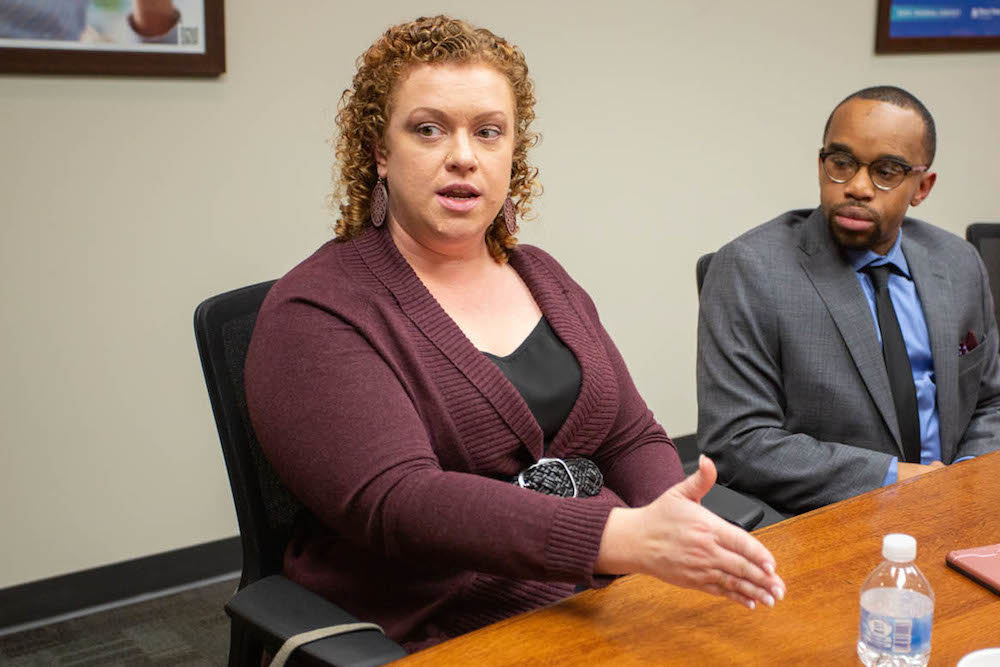 Dispensary licenses sought by Jamie Tillman, left, and Desmond Morris have been denied. They're pictured above last month for SBJ's CEO Roundtable on medical marijuana.