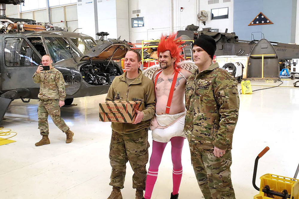 Dan Austin of Hurts Donut Co. is dressed as Cupid to deliver Valentine's doughnuts Feb. 13 at the Missouri Air National Guard in Springfield.
