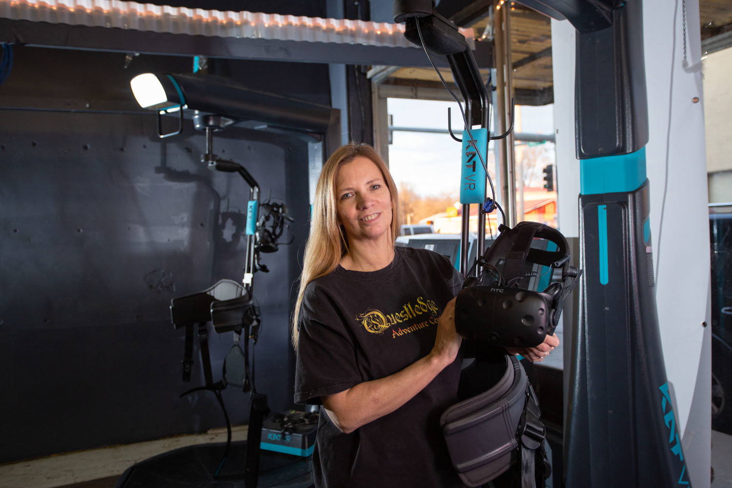 FUN AND GAMES: Virtual reality games are among the offerings Questledge owner Debbie Moore provides at her entertainment venue in Nixa.