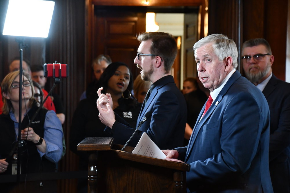 Gov. Mike Parson on Friday declares a state of emergency in response to the coronavirus pandemic.