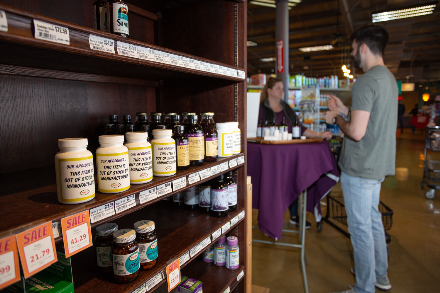 HIGH DEMAND: Customers have wiped out the shelves of viral defense products at MaMa Jean's Natural Foods Market, following a shortage nationwide.