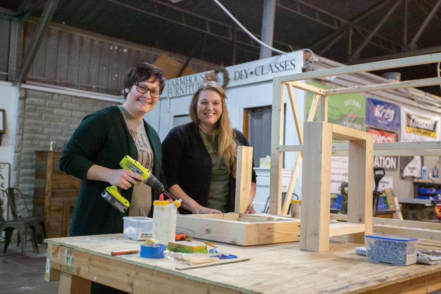 Brittany Dyer, left, and wife, Heather Dyer, of Beautiful Fight Woodworking are planning to launch a retail presence.