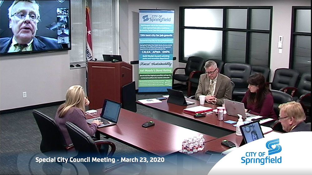 VIRTUAL QUORUM: Springfield City Council members participate in an emergency closed session March 23 through videoconferencing amid COVID-19 concerns. Mayor Ken McClure addresses the group in a Zoom meeting, with Springfield-Greene County Health Department, third from right, in attendance. The next day, McClure announced a stay-at-home edict for 30 days beginning March 26.