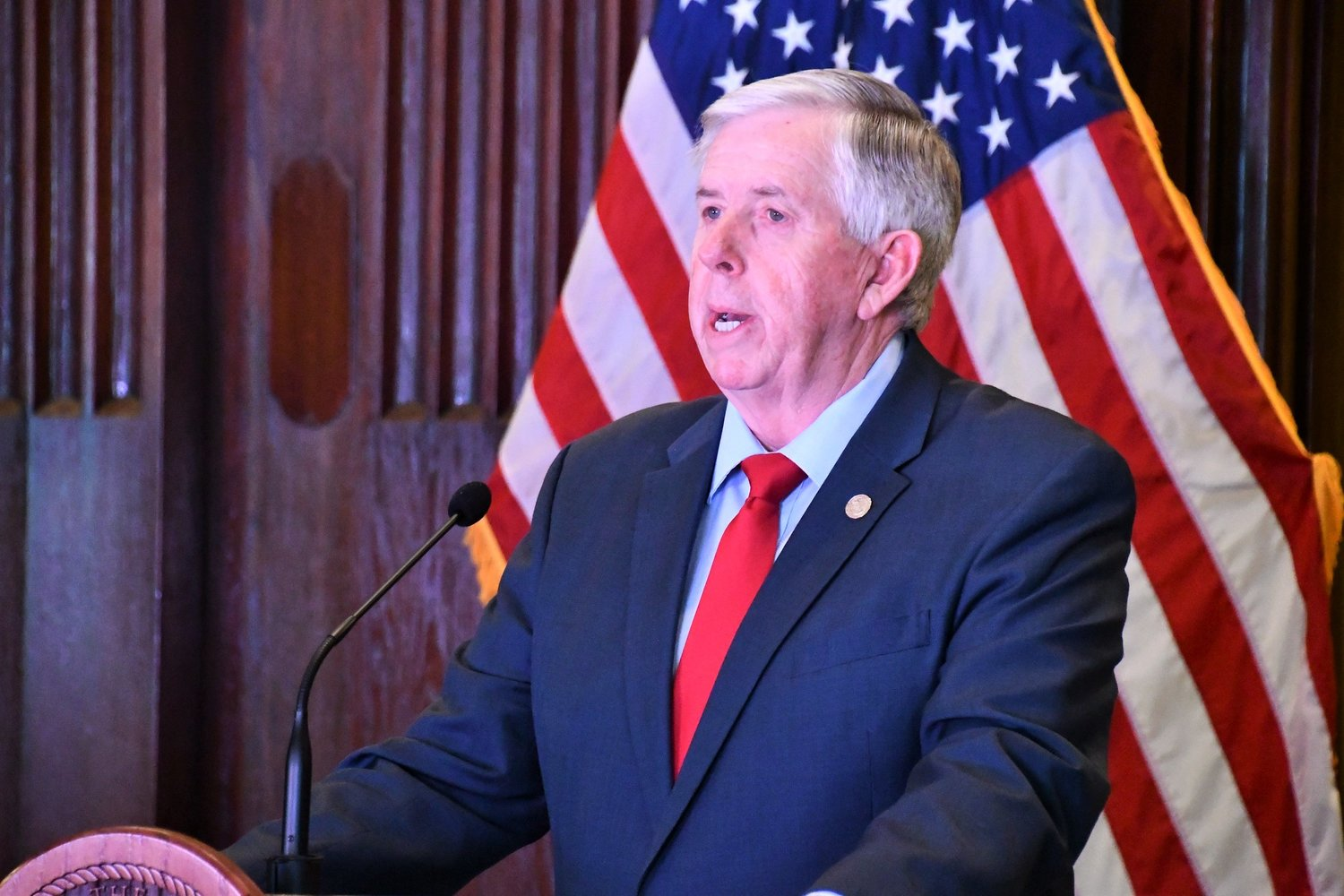 Gov. Mike Parson on Friday announces a statewide stay-at-home order.