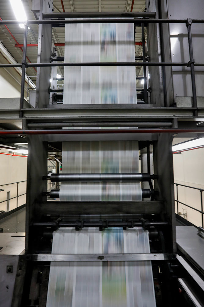 FINAL RUN: The Springfield News-Leader's printing press makes its final run March 29. Officials with parent company Gannett Co. Inc. moved the printing operations to Columbia, resulting in layoffs of 41 people, including pressmen and mail room staff, according to News-Leader Editor Amos Bridges.