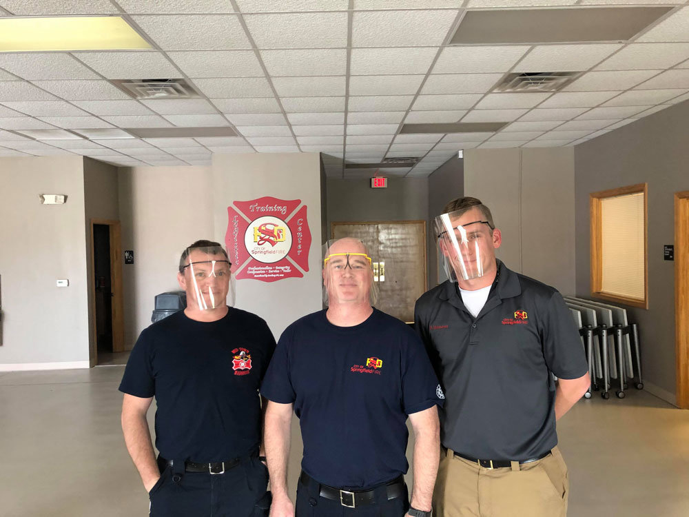 3D PROTECTION: Springfield firemen wear face shields that were 3D printed through a partnership with Missouri State University, CoxHealth and Jordan Valley Innovation Center.