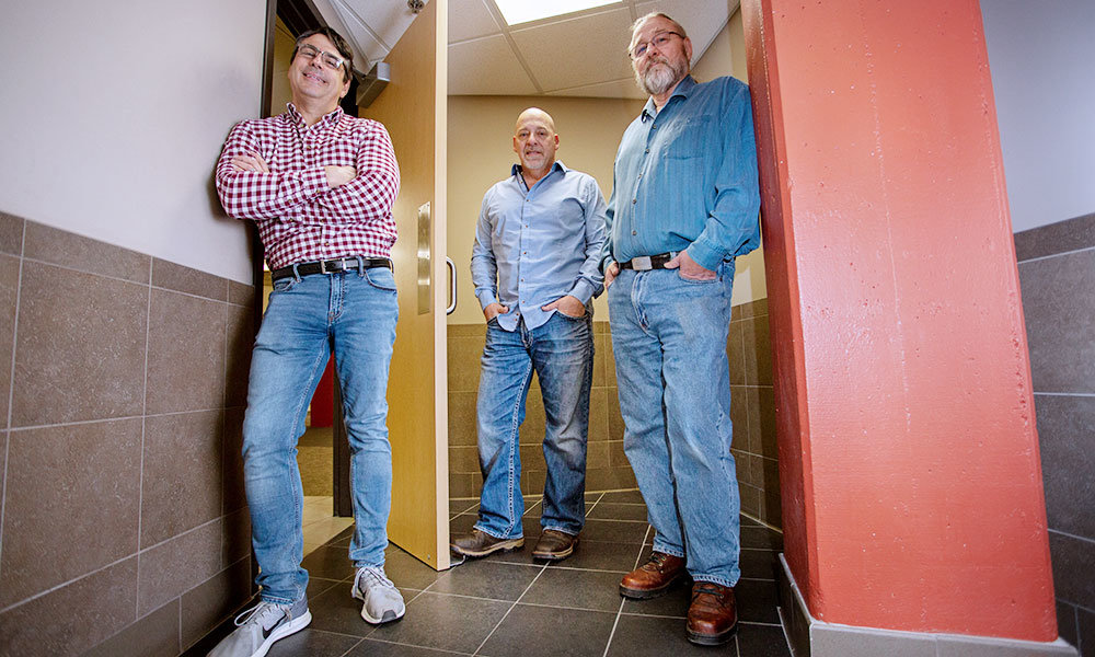 HOT COMMODITY: StepNpull's ownership team, from left, Mike Sewell, Kelly Coddington and Ron Ely, have seen sales for their foot-operated door opener skyrocket in 2020.