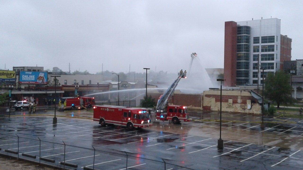 Firefighters respond to a downtown building fire on Tuesday morning.