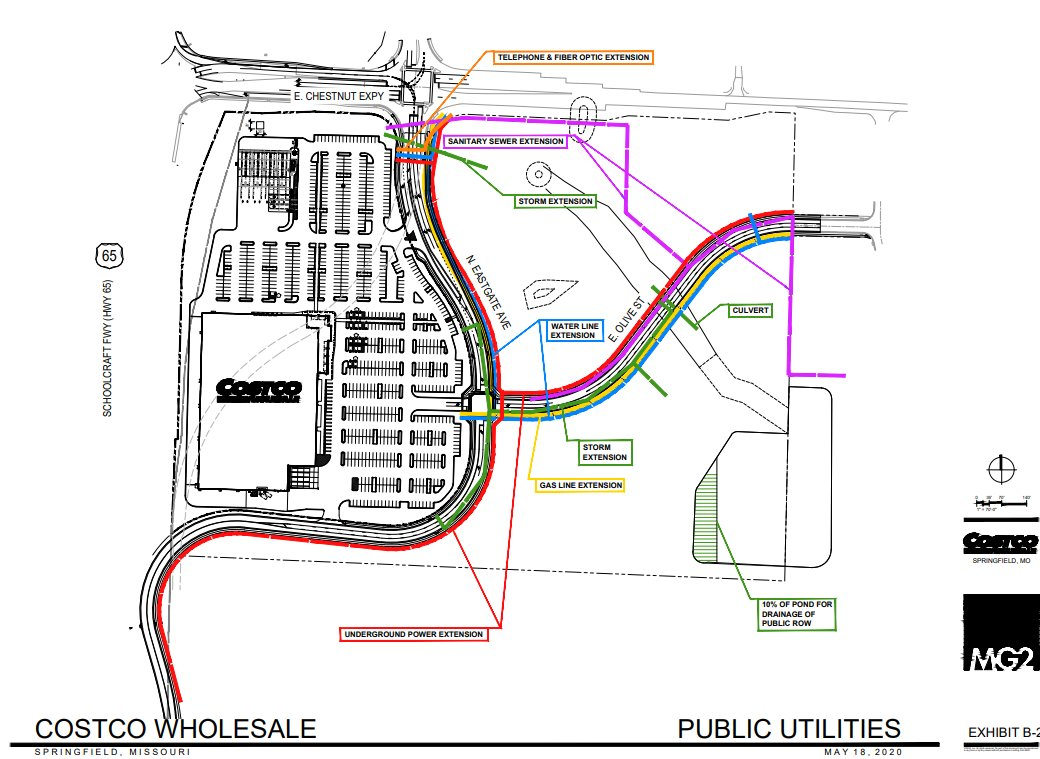 Site plans show a Costco store fronting U.S. Highway 65 at Chestnut Expressway.